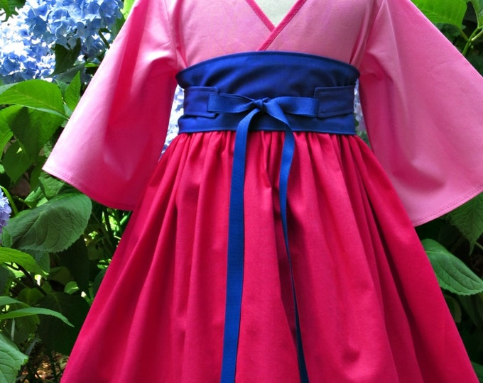 Mulan Birthday Dress - Little Girl Dresses - Toddler Clothes - Kimono Dress - Pink Dress - Mulan Party - Girls sizes 12 months to 14 years