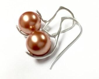 Tangerine Pearl Earrings, sterling silver earrings, simple dangle earrings, custom pearl colors available