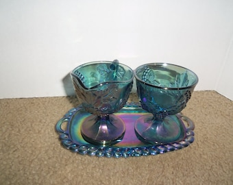 Carnival Glass Indiana Blue Iridescent Harvest Grapes Sugar and Creamer