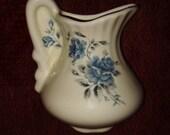 Pitcher And Bowl Wall Pocket Hanging Vase Vintage White Blue Roses