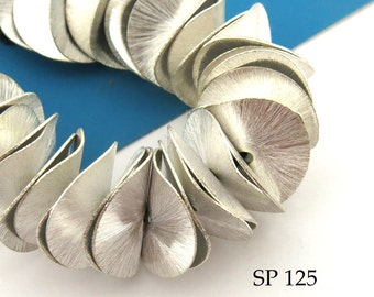 18mm Potato Chip Beads Brushed Silver Plated Large Wavy Disks Full Strand (SP 125) 40 pcs BlueEchoBeads
