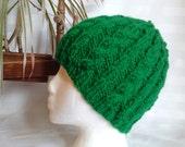 Ready to Ship. Kelly Green Women's Cable Hat. Winter Hat. Wool/Acrylic Yarn. Hand Knit Hat. Bright Green. Green Grass. Boyfriend Gift.