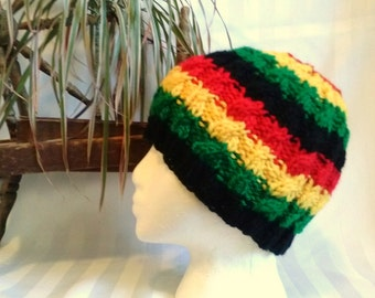 Rasta Winter Hat. Black. Yellow. Red. Green. Rasta Colors. Jamaica. Barbados. Cable Hat. Beanies for Men. Knit Hat. Beanies for Women.