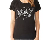 Dancing Skeletons T-Shirt, Women's Graphic tee, Skeletons, Day of the Dead, Halloween t-shirt, Gift for Her, Art T-shirt, Cool t-shirt