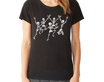 Dancing Skeletons T-Shirt, Women's Graphic tee, Skeletons, Day of the Dead, Halloween t-shirt, Gift for Her