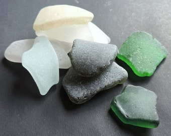 Genuine SEA GLASS Pendant size Lot of 10 pieces / For crafting, jewelry making / P80
