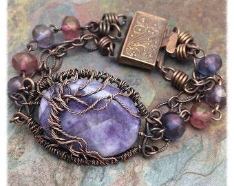 Purple Charoite Gemstone Tree of Life Bracelet,Free Shipping, Christmas, Birthday, Anniversary Gift Inspirational Jewelry