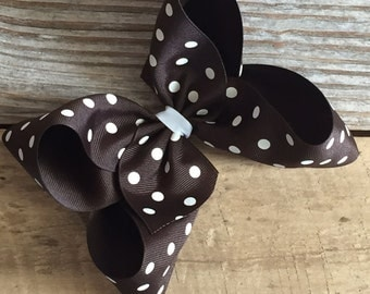 "6"" Brown Polka Dot Boutique Bow"