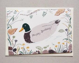 Mallard Duck Birthday Card (Set of 2)