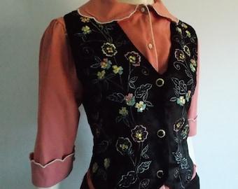 vintage 1960s black velvet vest/ hippie floral embroidery sequin vest/ 70s india boho vest