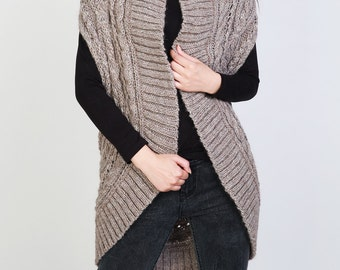 Hand knit long vest sweater Wool cardigan Camel woman sweater
