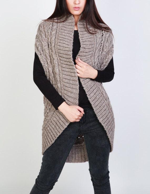 Hand knit long vest sweater Wool cardigan Camel woman sweater