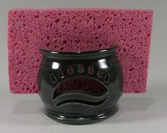Ceramic Sponge Holder - Slate Blue - Sunrise - Ceramic Sponge Caddy - Wheel Thrown Sponge cup - Stoneware Sponge holder - Pottery Drying Cup