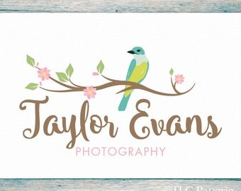 Premade Logo Design, Custom Logo, Photography Logo,  Soap Logo, Bird Logo, Watermark, Flower Logo, Cherry Blossom Logo, Boutique Logo