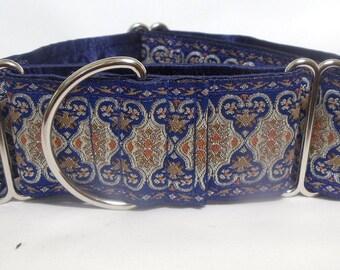 "2.0"" Renaissance  BlueJacquard Ribbon Greyhound, Galgo, Sighthound Martingale Collar"