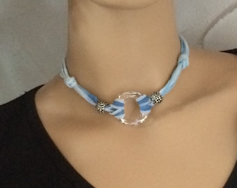 Swarovski Crystal and Hand Dyed Silk Choker and Wrap Bracelet