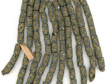 "Antique Venetian Millefiori Trade Beads 15x10mm 99 Pcs Original Hank ""Italy"" tag"
