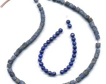 "Natural Lapis Lazuli Beads 14.5"" Mixed Lot of Matte Tubes & Polished Rounds"
