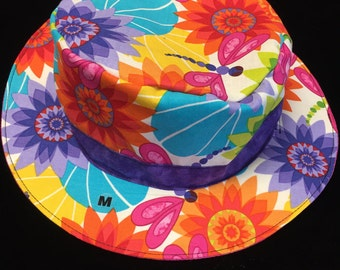 Reversible dragonfly and floral fishing hat sizes newborn to adult
