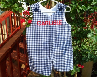 Boy's Navy   and White Gingham Personalized  Jon Jon Sizes , 3T White Embroidery