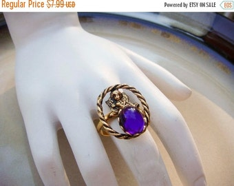Summer Clear Out SALE Vintage Angel Ring purple stone adjustable band