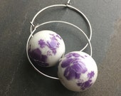 SALLY-Shabby Chic Garden Party Lavendar Ceramic Hoop Earrings