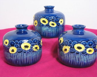 Vintage Fred Roberts Weed Pots Set of 3 Flower Vase Abstract Flower design Mid Century Mod