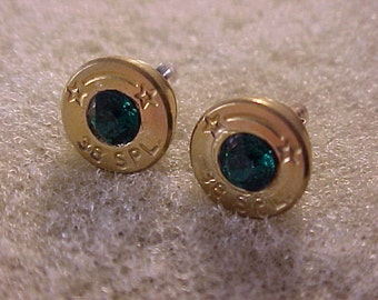 Sterling Silver Bullet Earrings 38 Special Emerald Swarovski Crystal