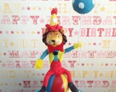 Adorable Lion Sitting on Ball/Circus Party/ Cupcake/Cake Topper