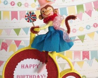 Monkey Cake Topper/ Circus Party/Bicycle/Monkey Cake