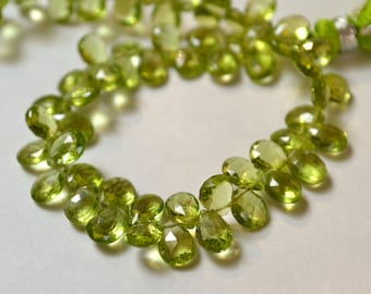 GREEN PERIDOT Gemstone, Faceted Pear Briolette,  Semi Precious Gemstone Bead. 6 to 7mm. Pairs or NonMatching 1 to 10 Briolettes (fper3).