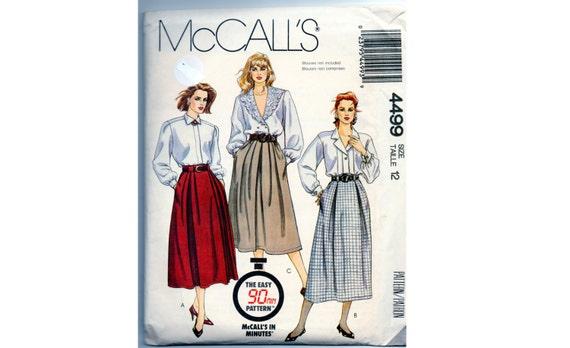 Vintage Skirt Pattern - Size 12 - McCalls 4499 - Full Skirt with Pleats - Zipper -  Pockets - 1980s