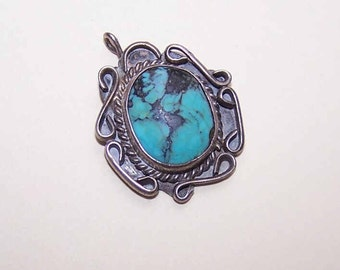 Vintage Native American/Southwest Indian STERLING SILVER & Turquoise Pendant