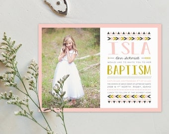 LDS Baptism Invitation - Isla