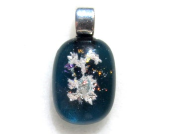 OCEAN Memorial CREMATION GLASS Pendant - Fused Opal Glass Jewelry Piece ( Pet Ashes Only)