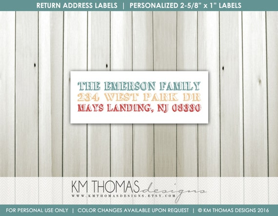 printable return address label matching holiday label