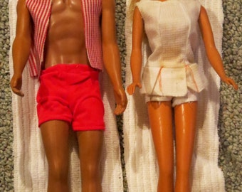 70s MALIBU BARBIE KEN Sun Set blond Doll Miami Sun Tan swimsuit