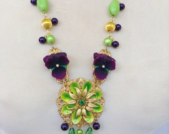 Green and violet assemblage necklace