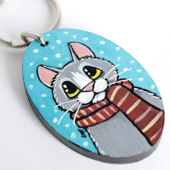 Handpainted Wood CAT Keyring Keychain by Lisa Marie Robinson | Winter Snow Scarf Grey Cat