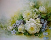 French White Roses and Violets Print Cabbage Rose Klein