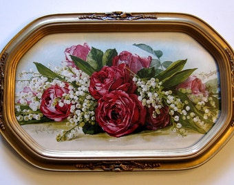 Roses Lily of the Valley, Paul de Longpre, Art Print, Half Yard Long, Antique Barbola Frame, Convex Glass