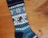 Personalized Christmas Stocking, blue with snowflake and skiers