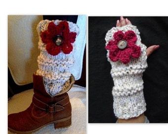 KNIT Fingerless Gloves, or Legwarmers -KNITTING PATTERN - adults- women, teens, #900, winter accessories, legwarmers, knit flower