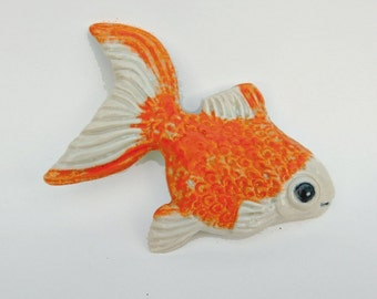 Gold Fish Orange and White Home Decor Ceramic Ornamental Sculpture Animal