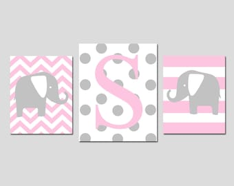Baby Girl Nursery Decor Art Elephant Initial Trio - Set of Three Prints - 8x10 and 11x14 - Chevron, Stripe, Polka Dot - CHOOSE YOUR COLORS