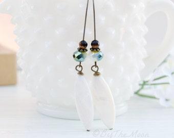 Long White Earrings - White Mother of Pearl Earrings - Tigers Eye Stone Earrings - Kidney Wire Earrings - Long White Shell Earrings - Boho