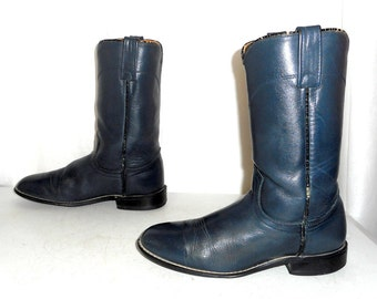 Womens Size 7 M Acme Cowboy Boots Steel Blue Roper Boho Hippie Cowgirl Western