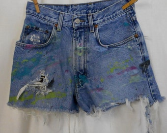 Destroyed Lucky Brand Jean Shorts Distressed Artsy Paint Womens Size 4 Boho Western
