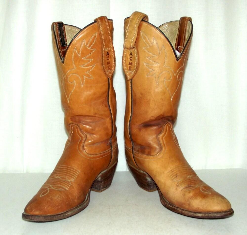 Vintage Acme Cowboy Boots Mule Ears Mens Size 9 D Womens