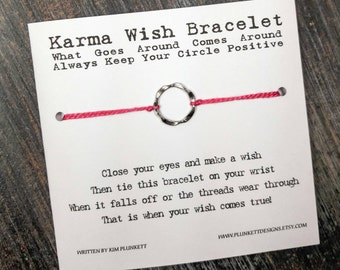 Karma Wish Bracelet - Available In Over 100 Different Colors!!!  (Wavy Circle Charm - Silver)